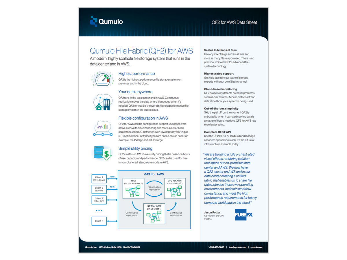 Qumulo File Fabric (QF2) for AWS Datasheet