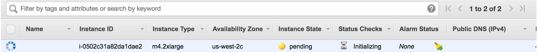 AWS status screen