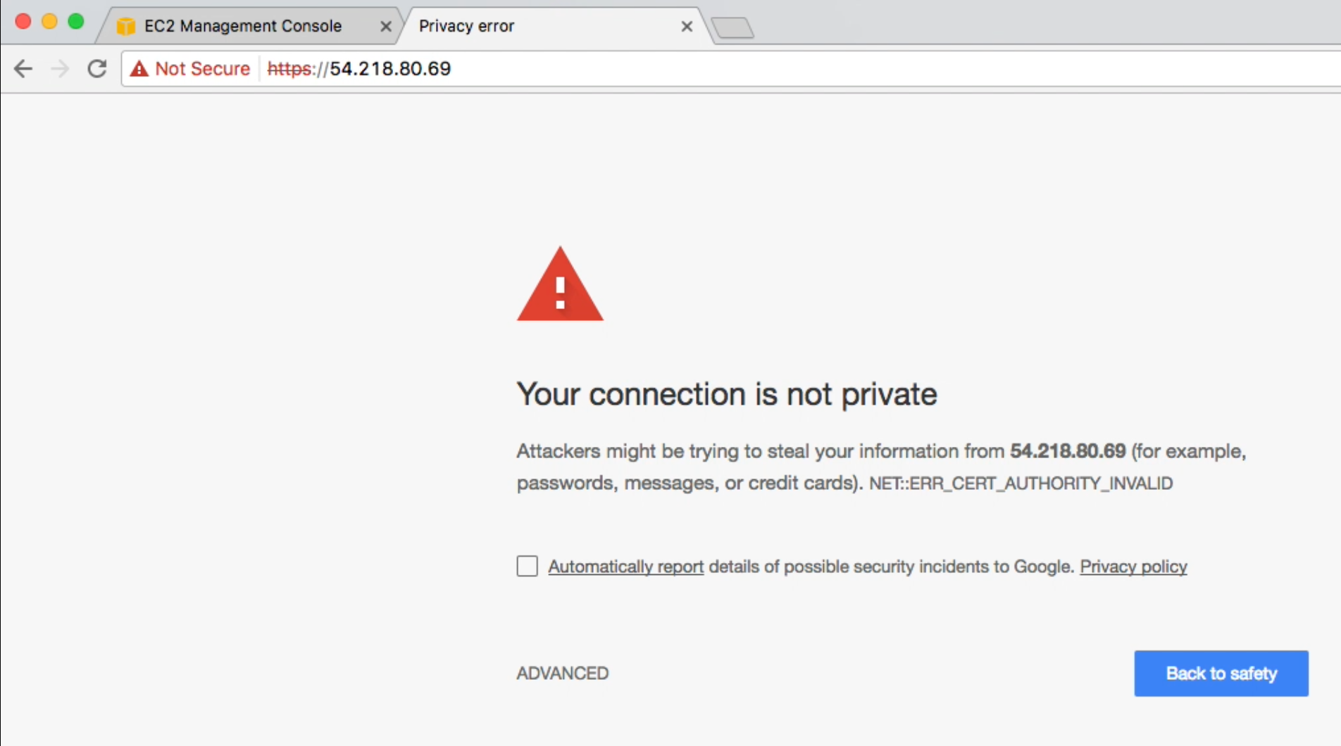 Chrome privacy error