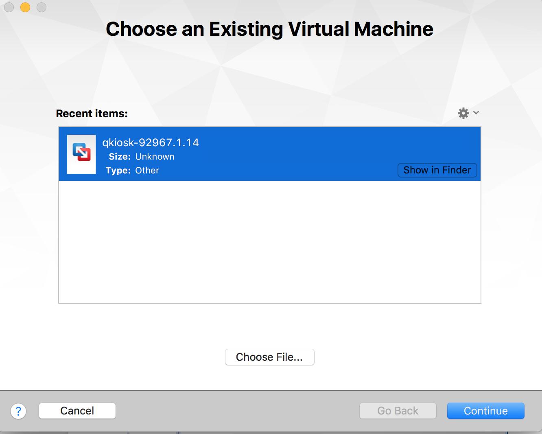 Choose existing VM