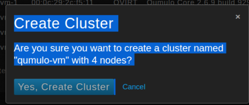 Confirm create cluster