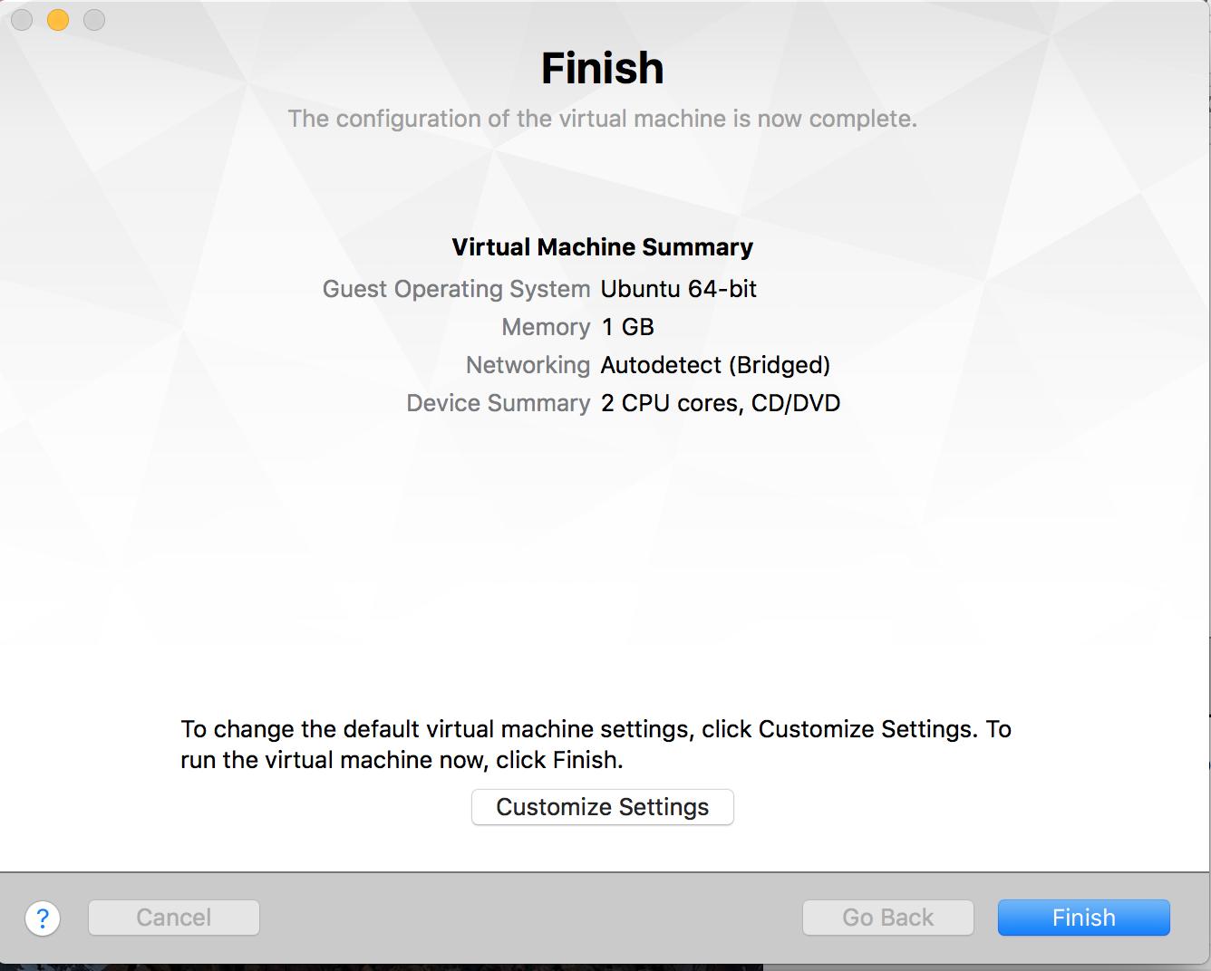 VM settings summary
