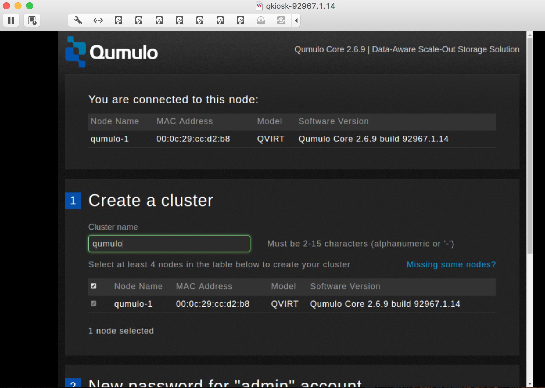 Qumulo configuration page
