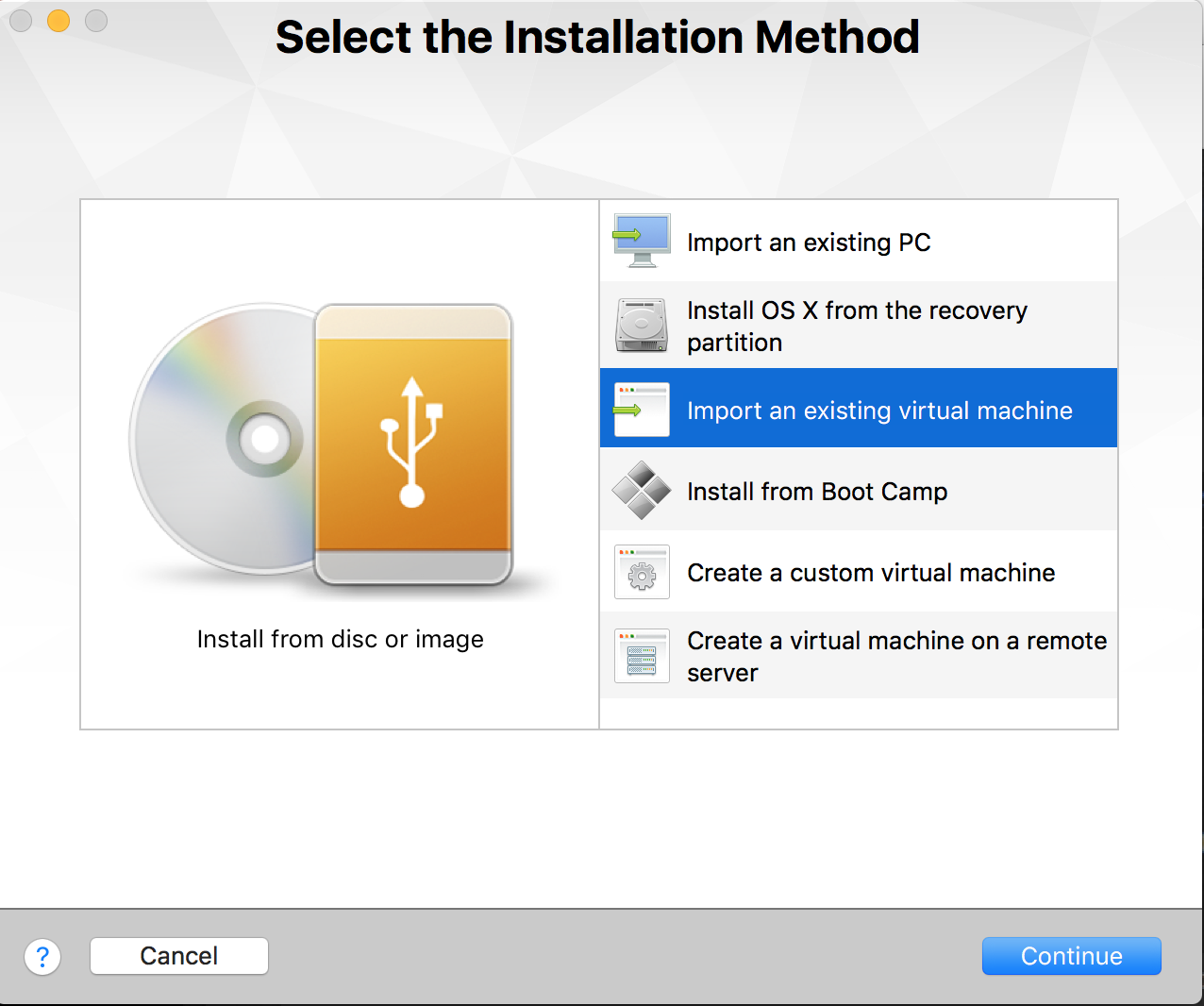 Select installation method