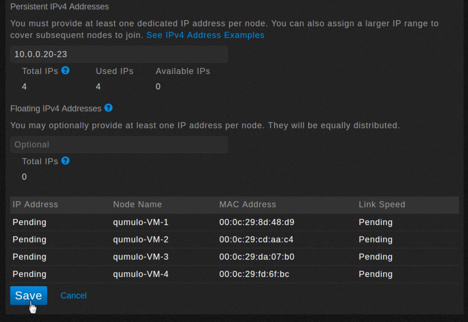 Network configuration -- set floating IP addresses