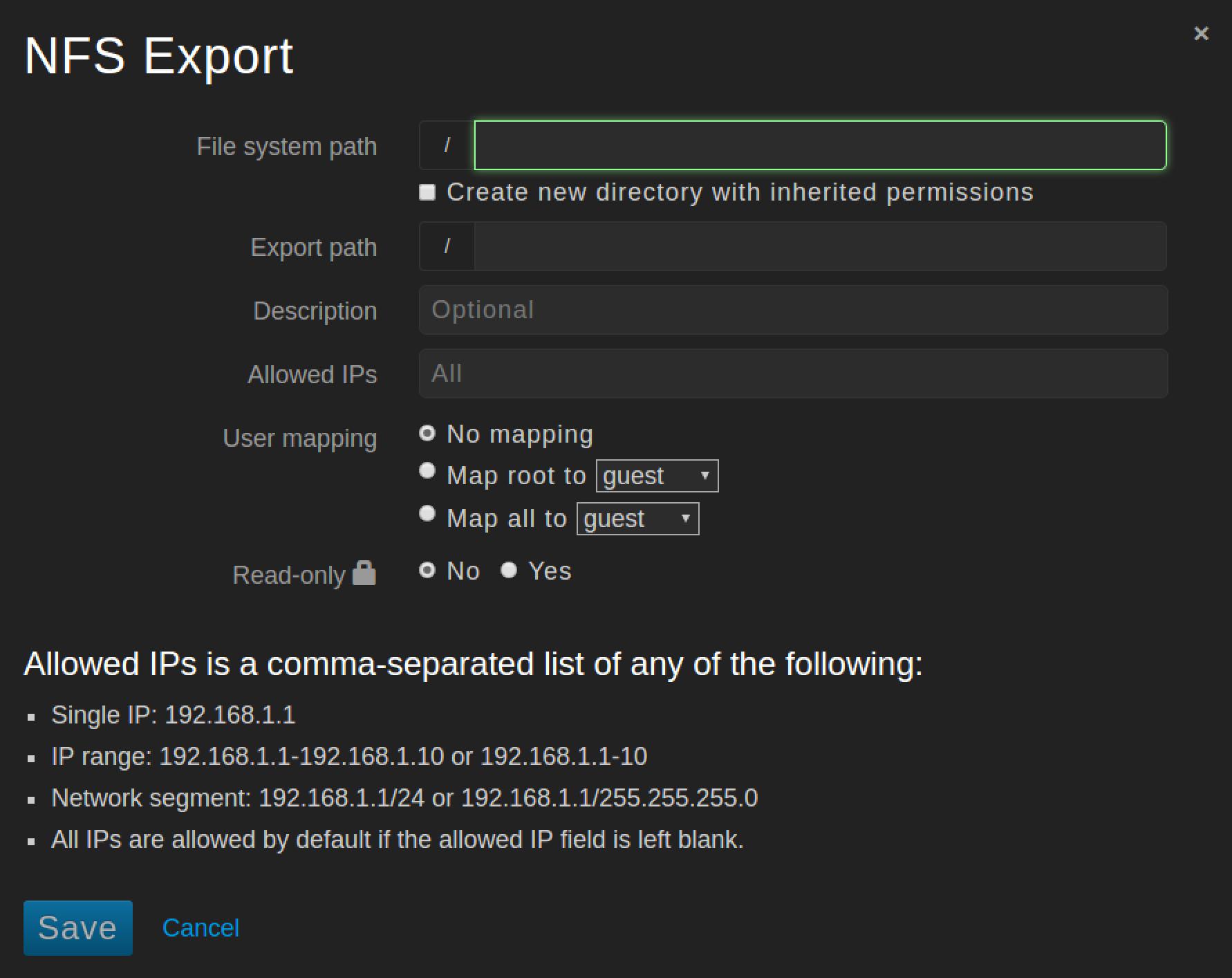 NFS Export dialog box