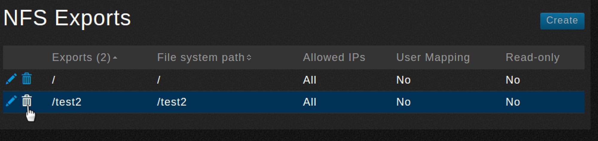NFS Exports-delete