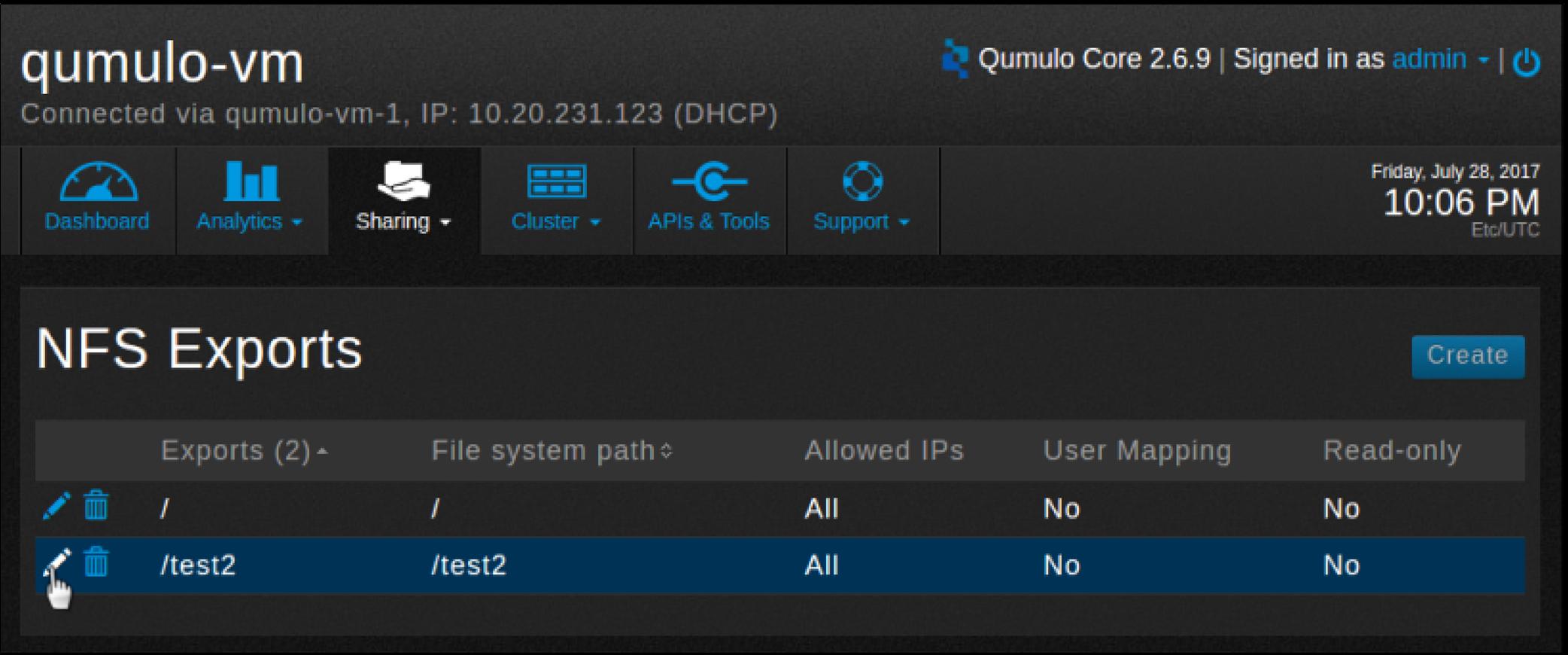 NFS export-select-edit