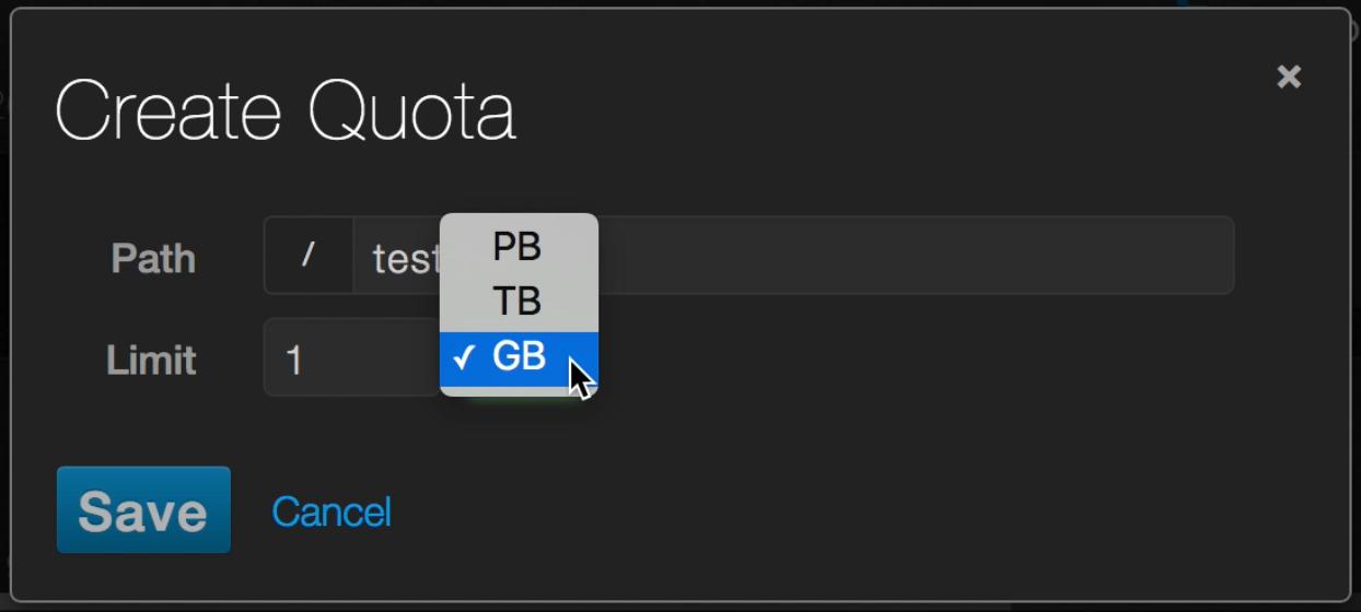 Create Quota in GB, TB or PB