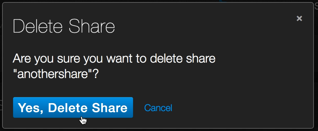 SMB Share delete - Yes, Delete Share