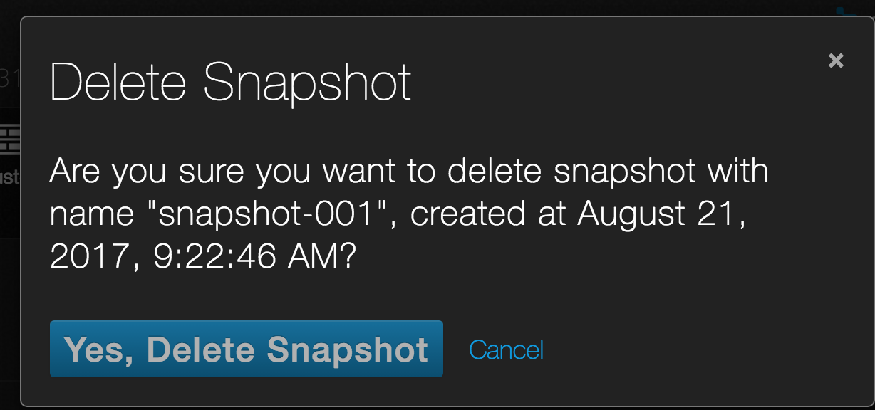 On demand snapshot confirm delete