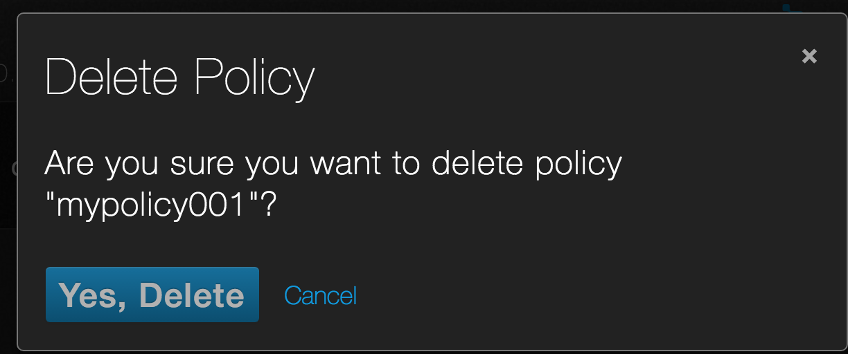 Snapshot policy delete confirm